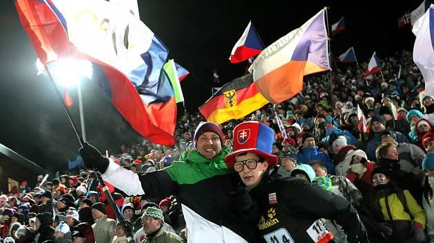 Fanoušci na SP biatlonistů v Novém Městě na Moravě.