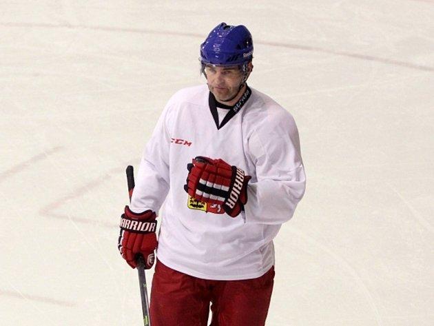 Jaromír Jágr na tréninku hokejové reprezentace.