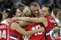 Basketbalistky Srbska se radují z postupu do semifinále na olympijských hrách v Riu.