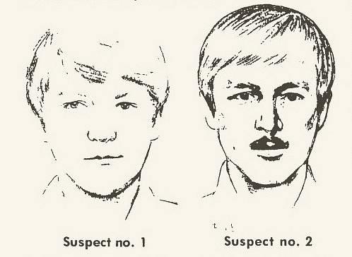 Kresby možných podezřelých v případě vraždy mladého páru. Po letech se ukázalo, že manžele zavraždil DeAngelo.