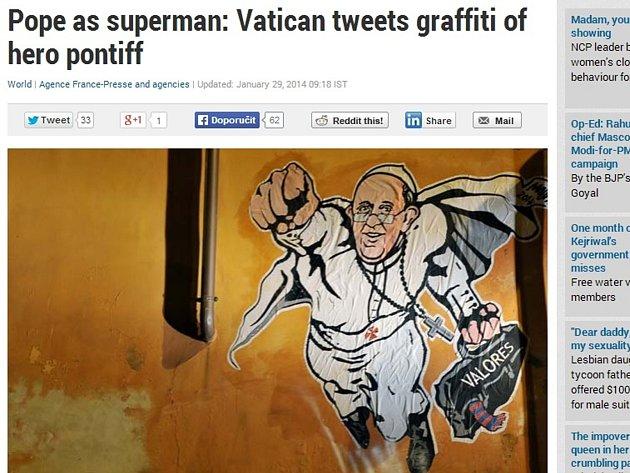 Na jedné z fasád římských domů u Vatikánu se objevilo graffiti papeže Františka v roli supermana.