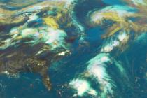 Satelitní snímek Země. Ilustrační fotografie