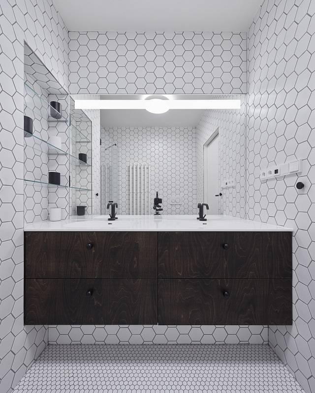 K bílé fasádě se přidávají i bílé stěny ve všech místnostech.