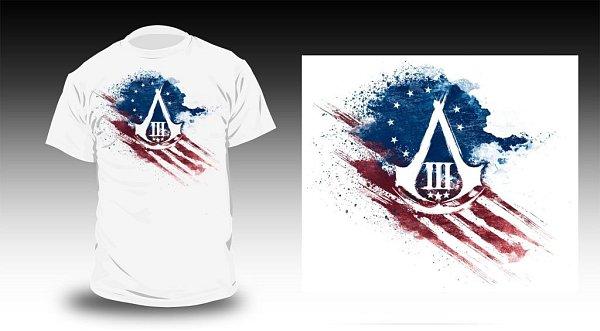 Soutěžní tričko smotivem počítačové hry Assassin'sCreed 3.