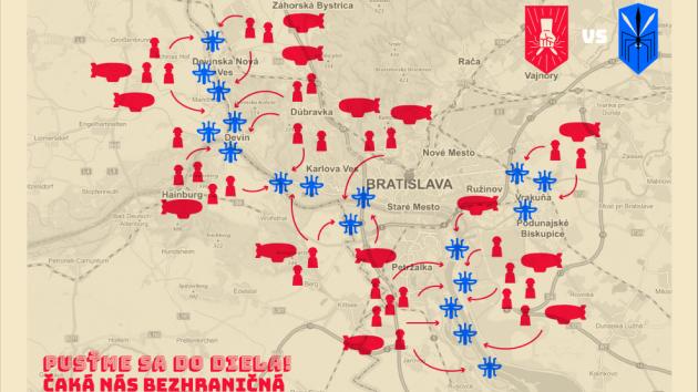 Recesistická mapa války s komáry z webu bratislavského magistrátu.