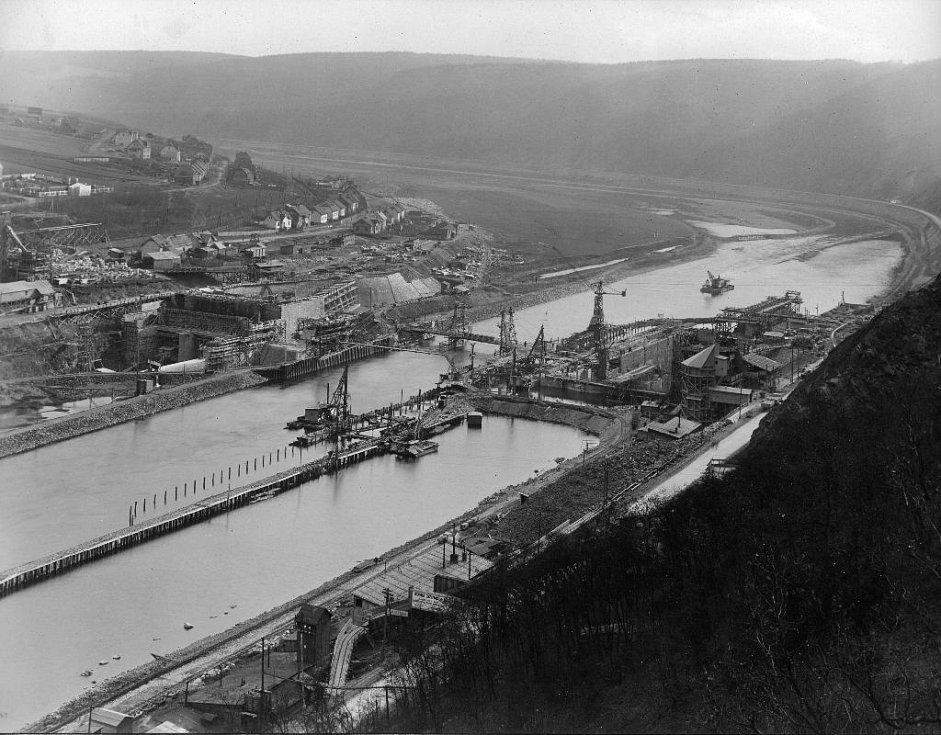 Výstavba vodního díla a elektrárny Vrané nad Vltavou (1. polovina 30. let)