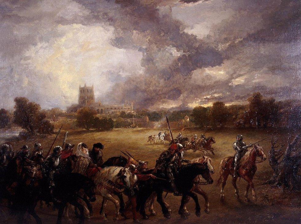 Královna odjíždí na bílém koni, střežena četnými ozbrojenci; v dálce jsou vidět zdi opatství Tewkesbury