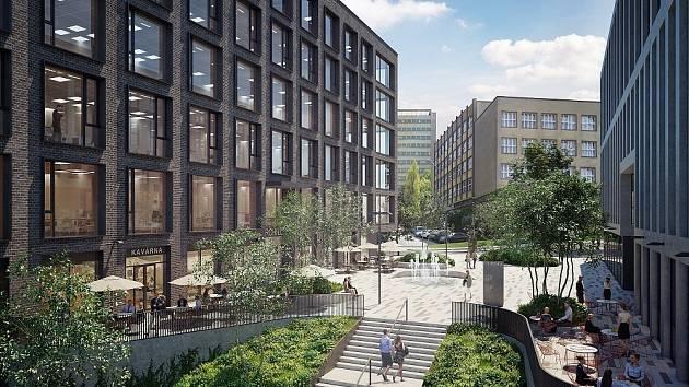 Nové kancelářské budovy mezi hlavním nádražím a VŠE