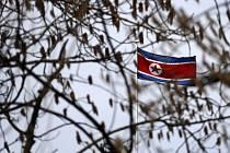 Vlajka KLDR, severokorejská vlajka - ilustrační foto