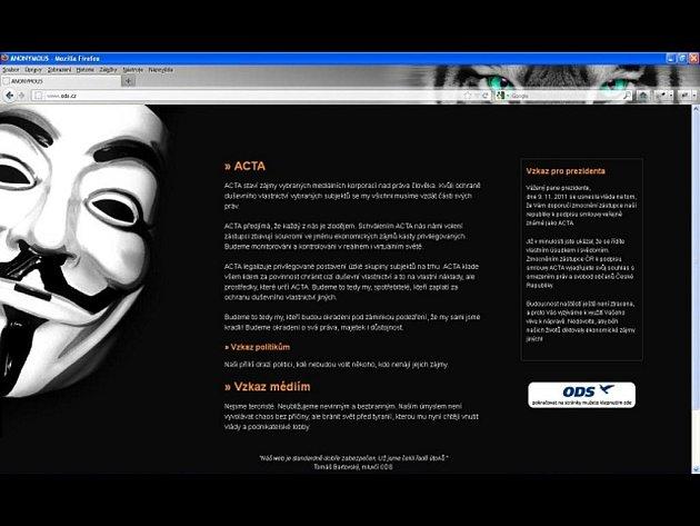 Hackeři hlásící se k hnutí Anonymous ovládli 2. února web ODS, uveřejnili tam prohlášení proti smlouvě ACTA, která má chránit duševní vlastnictví na internetu.