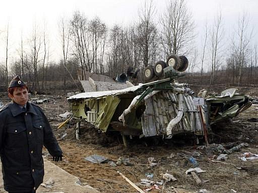 Trosky prezidentského Tupolevu ve Smolensku. Ilustrační foto