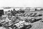 Mrtvá těla amerických vojáků po dobytí ostrova