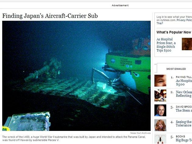 U pobřeží Havaje byla nalezena mohutná japonská ponorka z druhé světové války, kterou v roce 1946 potopily Spojené státy.