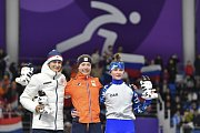 Nejlepší vytrvalkyně - stříbrná Martina Sáblíková, zlatá Esmee Visserová a bronzová Natalie Voroninová.