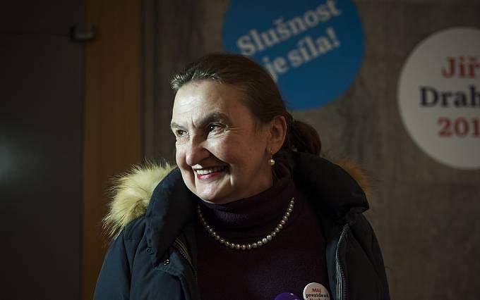 Eva Holubová ve štábu Jiřího Drahoše. 27.1.2018