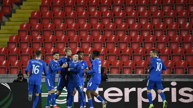 Utkání osmifinále Evropské ligy mezi pražskou Slavií a Glasgow Rangers