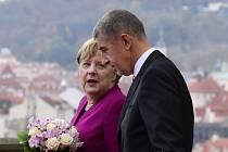 Premiér Andrej Babiš a německá kancléřka Angela Merkelová při návštěvě Prahy.