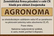 Zemědělská firma působící v celé ČR, hledá pro oblast Znojemska  AGRONOMA