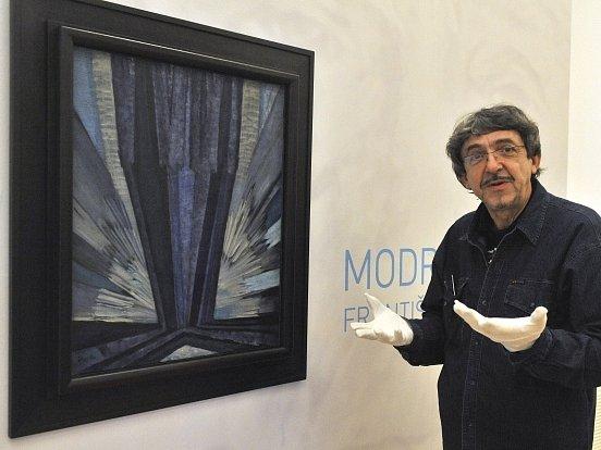 Kupkův obraz z roku 1913 nazvaný Tvar modré byl vystaven v ostravském Domě umění