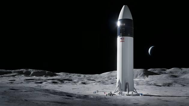 Vizualizace přistávacího modulu Starship od společnosti SpaceX. Právě tento modul má na povrch Měsíce dostat dva americké astronauty v rámci programu Artemis americké NASA