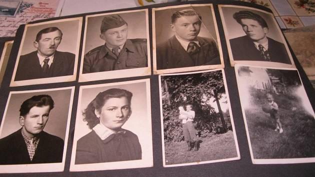 Fotografie členů rodiny Hadwigerovy, nahoře vlevo Otec Wilhelm a sourozenci.