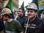 Demonstrace horníků z OKD. Ilustrační foto