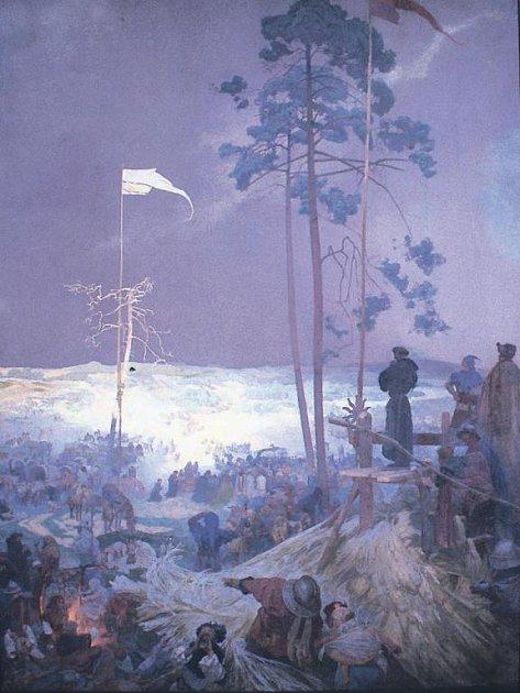 Schůzka na Křížkách. I tento rozměrný obraz ze Slovanské epopeje poputuje na čas do Vídně.