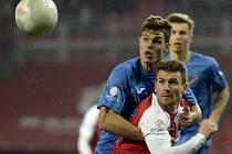 Slavia Praha - Baník Ostrava: Muris Mešanovic a Lukáš Vraštil