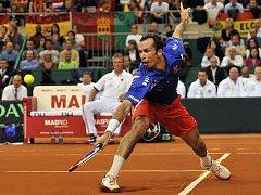 Radek Štěpánek se snažil hrát agresivně, na síti zakončoval hodně výměn.