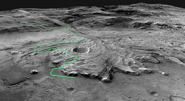 Zobrazení možné cesty, kterou by mělo vozítko Mars 2020Perseverance urazit napříč kráterem Jezero