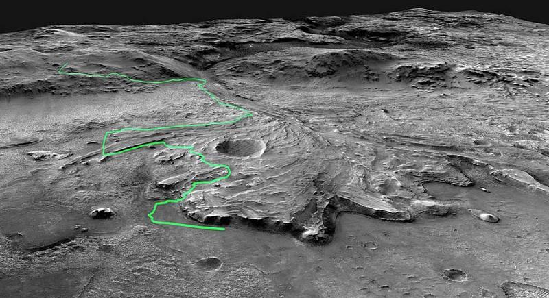 Zobrazení možné cesty, kterou by mělo vozítko Mars 2020 Perseverance urazit napříč kráterem Jezero