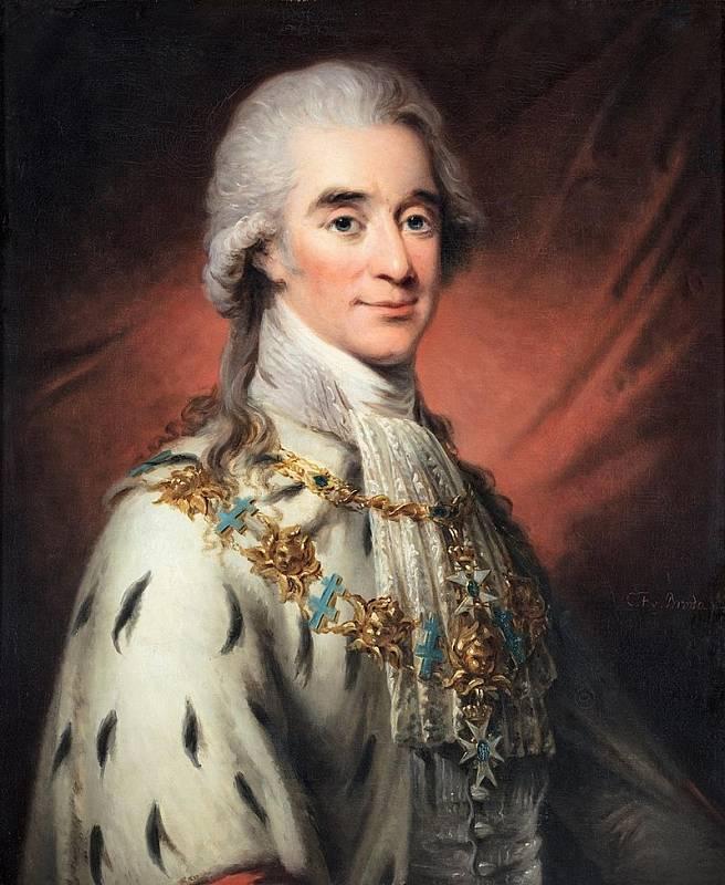 Hrabě Hans Axel von Fersen. Zkušený švédský diplomat a vojevůdce byl favoritem francouzské královny Marie Antoinetty. Zda byla jejich láska pouze platonická, nebo byli i milenci, se dodnes pouze spekuluje. Fersen žil v letech 1755 až 1810. Autorem portr