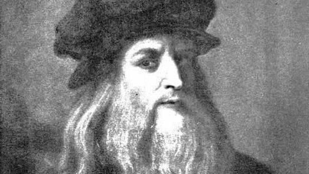 Italský malíř, sochař a architekt Leonardo da Vinci na autoportrétu