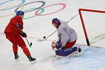 Pavel Francouz při tréninku české hokejové reprezentace.