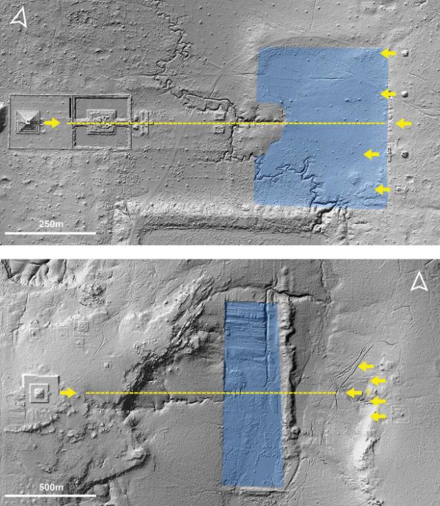 Osa a orientace centrální pyramidy, nádrže a přidružených svatyní v jiném starověkém městě Koh Ker (nahoře) a Mahendraparvata (dole)