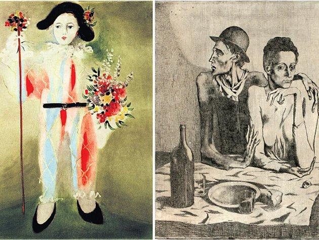 PICASSOVO TÉMA. Vlevo: Dítě – Harlekýn, barevný tisk, 1926, Sbírky Pražského hradu. Vpravo: Střídmý pokrm, lept 1904, NG.