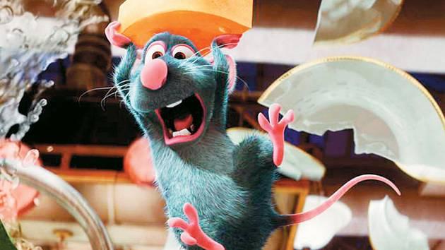 CHLUPATÝ KUCHAŘ. Krysák Remy už nechce obživu pokradmu loupit ze spíží, sní o kuchařské čapce. Musí se však mít na pozoru, protože v kuchyni je krysa škodná.
