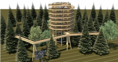Vizualizace stezky korunami stromů ve slovinské Rogle