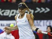Angelique Kerberová z Německa na tréninku před finále Fed Cupu proti České republice.