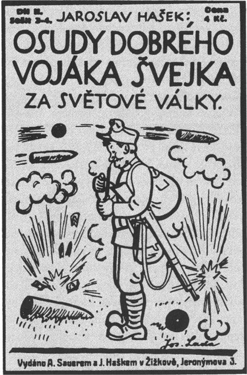Obálka prvního vydání Osudů dobrého vojáka Švejka za světové války. Autorem ilustrací byl Josef Lada