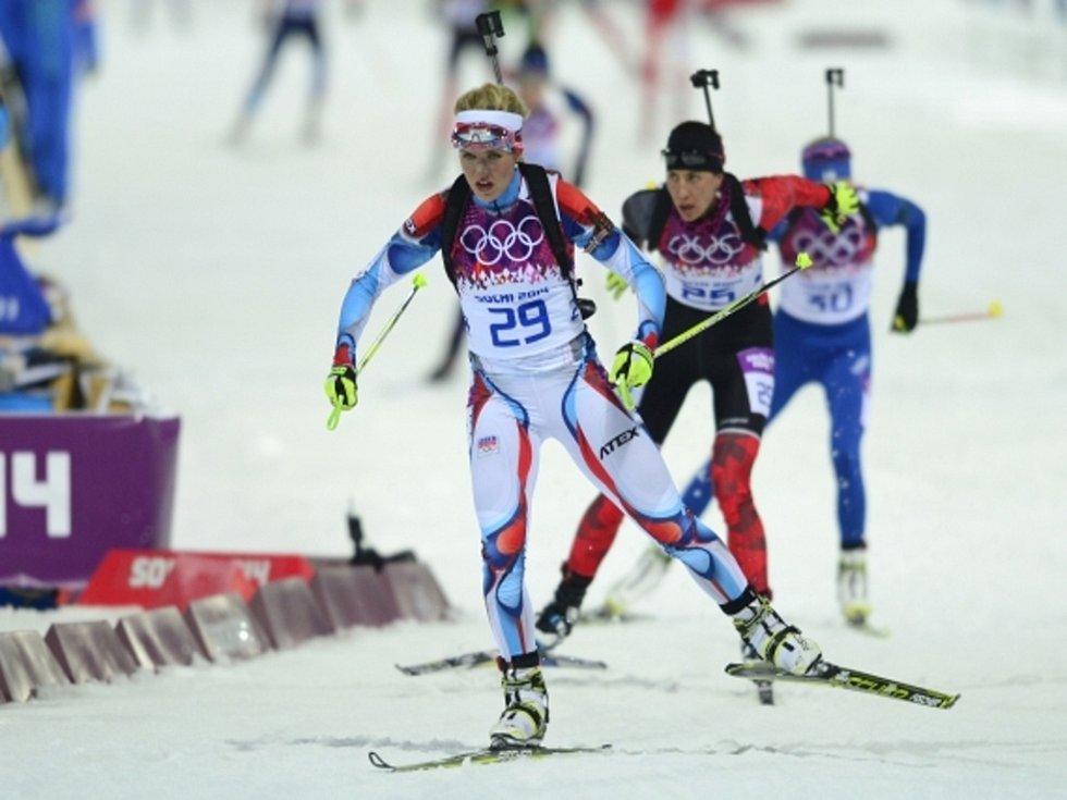 Biatlonistka Gabriela Soukalová ve stíhacím závodě na olympijských hrách v Soči.