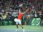 Novak Djokovič se raduje z vítězství nad Tomášem Berdychem ve finále Davis Cupu.