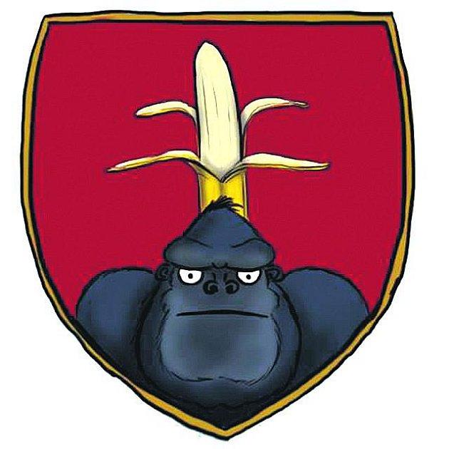 BANÁNOVÁ REPUBLIKA? Tuto verzi slovenského státní znaku vylepil před vchodem do parlamentu lídr   Obyčejných lidí Igor Matovič. Vysloužil si tak kritiku řady poslanců z jiných stran.