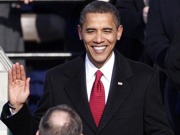 Barack Obama při přísaze v úterý 20. ledna.
