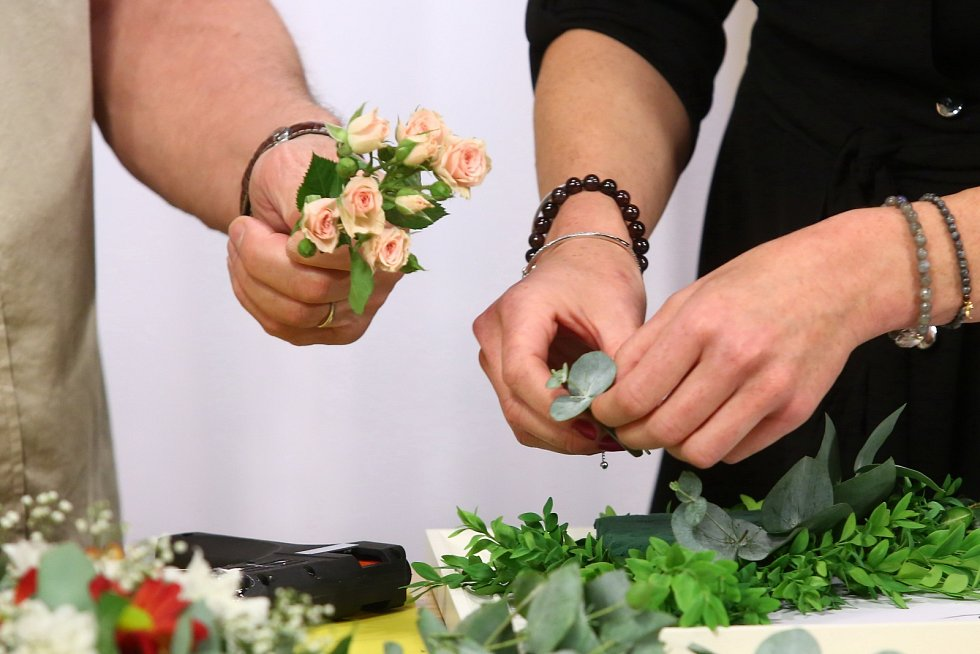 Obraz se živými květinami