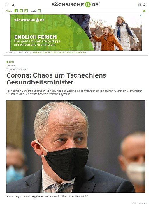 Světová média zaznamenala Prymulovu blamáž. Saechsische.de