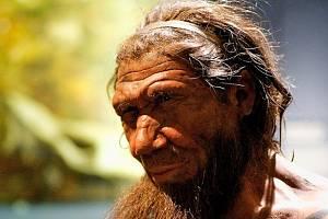Neandertálský rybář v umělecké rekonstrukci Paula Hudsona