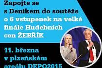 Zapojte se s námi do soutěže o 6 vstupenek na  velké finále Hudebních cen ŽEBŘÍK, který se koná  11. března v plzeňském areálu DEPO2015.