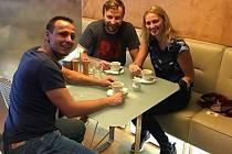 Petra Kvitová s kondičním koučem Davidem Vydrou a novým tenisovým trenérem Jiřím Vaňkem.