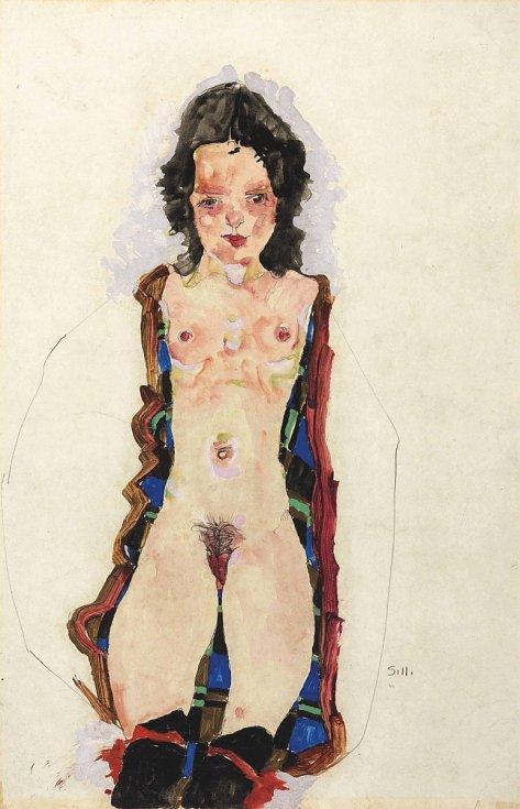 Egon Schiele dráždil i znepokojoval veřejnost svými akty velmi mladých dívek.